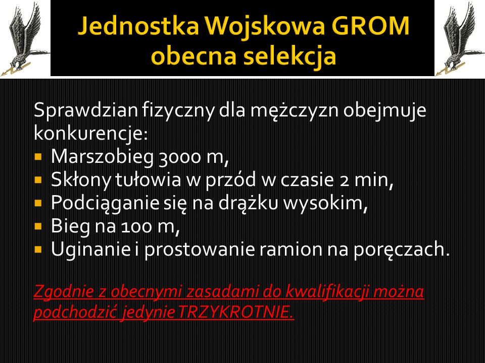 Jednostka Wojskowa GROM obecna selekcja