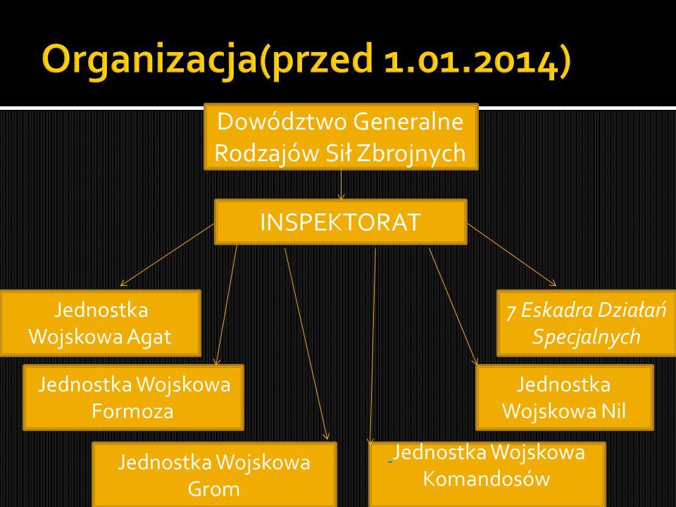Organizacja(przed 1.01.2014) Dowództwo Generalne Rodzajów Sił Zbrojnych. INSPEKTORAT. Jednostka Wojskowa Agat.