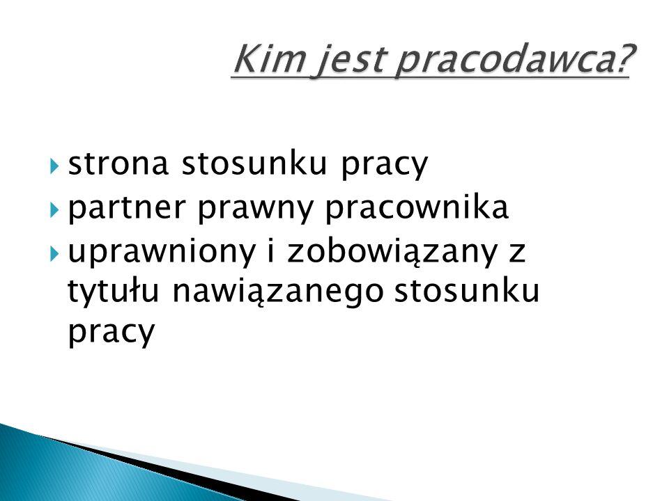 Kim jest pracodawca strona stosunku pracy partner prawny pracownika