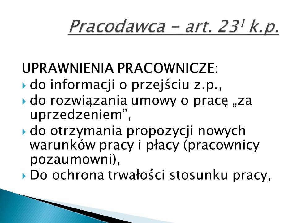 Pracodawca - art. 231 k.p. UPRAWNIENIA PRACOWNICZE: