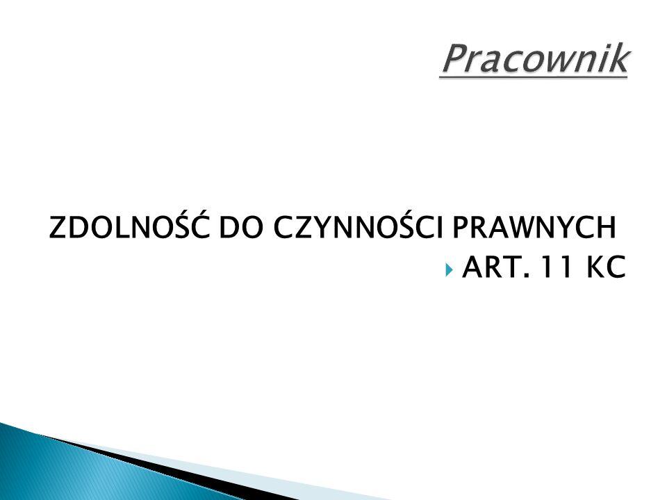 Pracownik ZDOLNOŚĆ DO CZYNNOŚCI PRAWNYCH ART. 11 KC