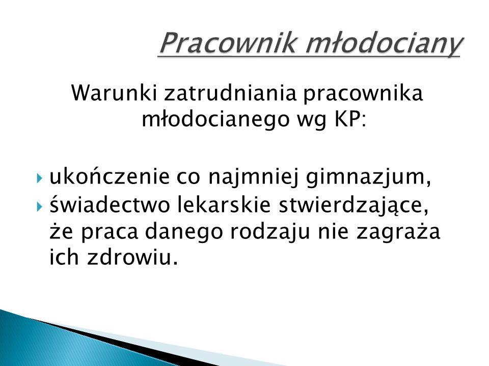Warunki zatrudniania pracownika młodocianego wg KP: