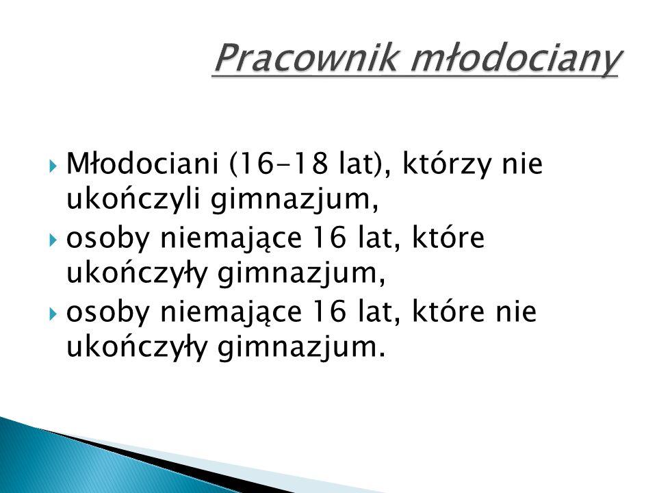 Pracownik młodociany Młodociani (16-18 lat), którzy nie ukończyli gimnazjum, osoby niemające 16 lat, które ukończyły gimnazjum,