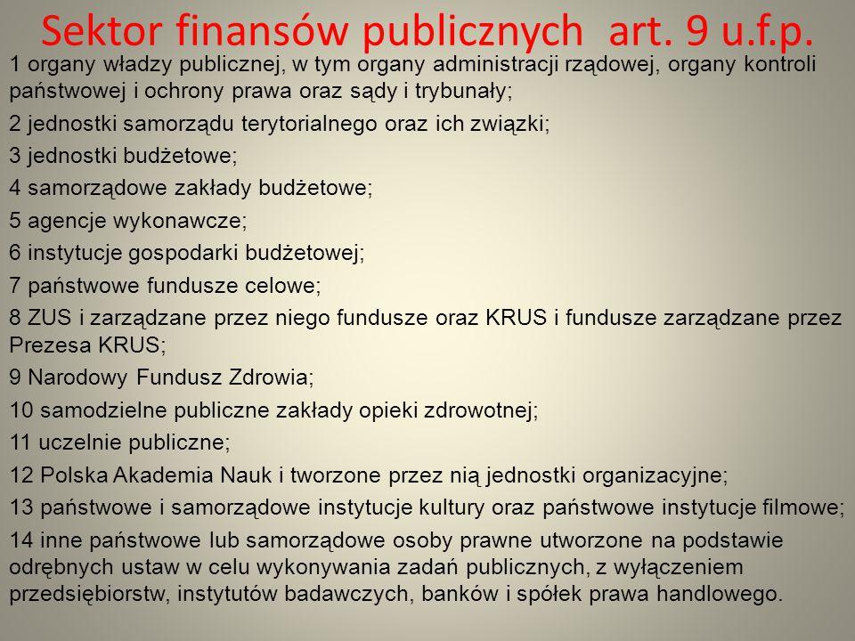 Sektor finansów publicznych art. 9 u.f.p.