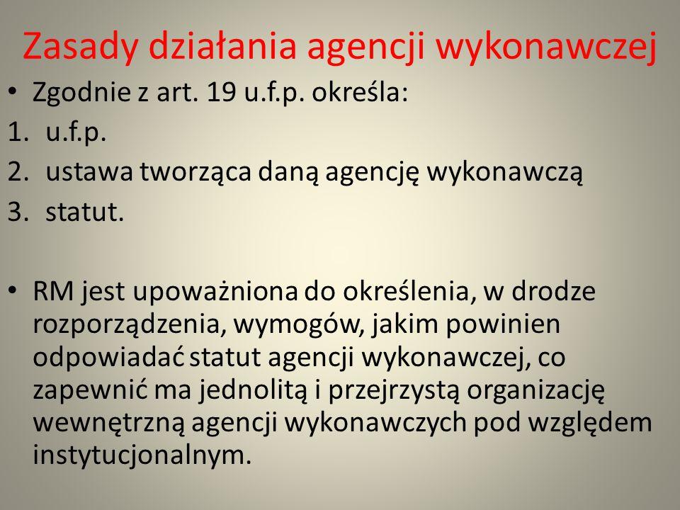 Zasady działania agencji wykonawczej
