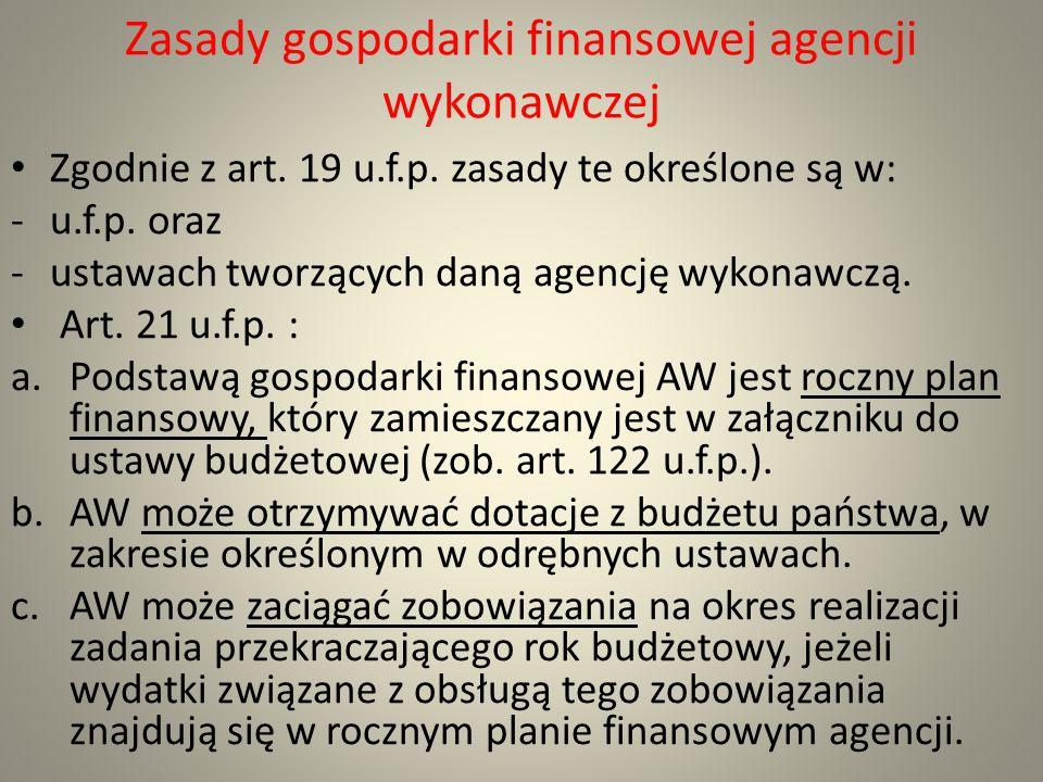 Zasady gospodarki finansowej agencji wykonawczej