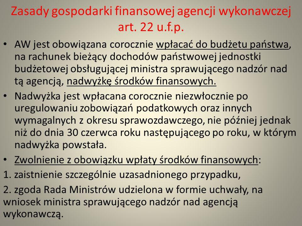 Zasady gospodarki finansowej agencji wykonawczej art. 22 u.f.p.