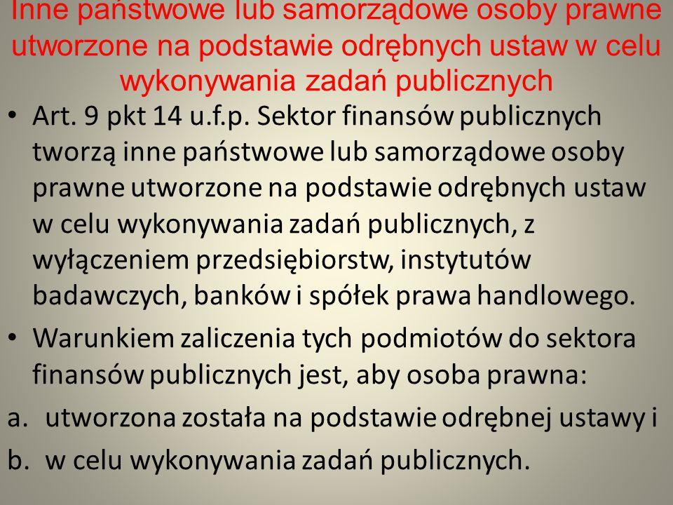 Inne państwowe lub samorządowe osoby prawne utworzone na podstawie odrębnych ustaw w celu wykonywania zadań publicznych