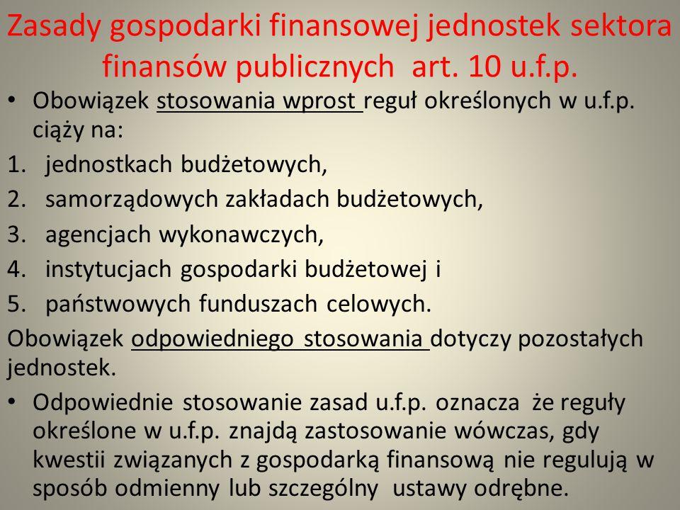 Zasady gospodarki finansowej jednostek sektora finansów publicznych art. 10 u.f.p.
