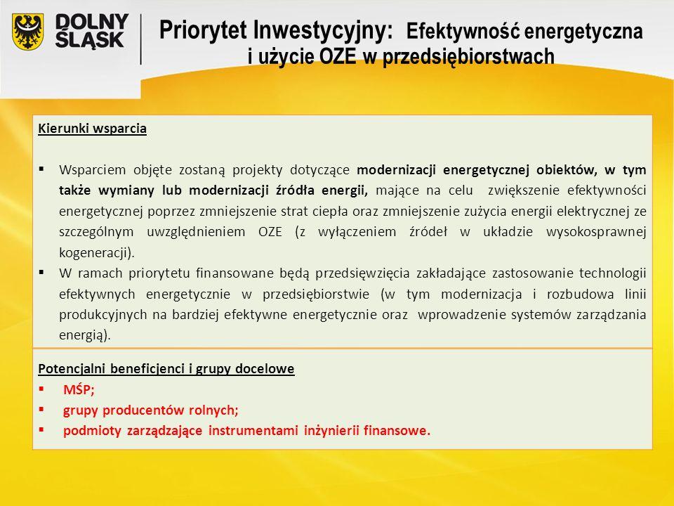 Priorytet Inwestycyjny: Efektywność energetyczna i użycie OZE w przedsiębiorstwach