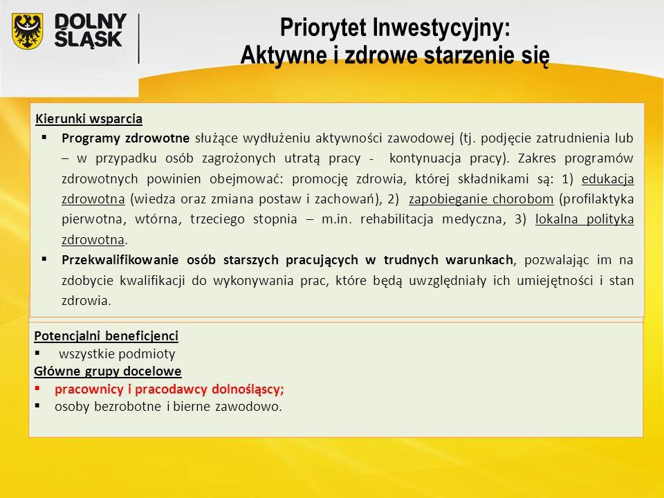 Priorytet Inwestycyjny: Aktywne i zdrowe starzenie się