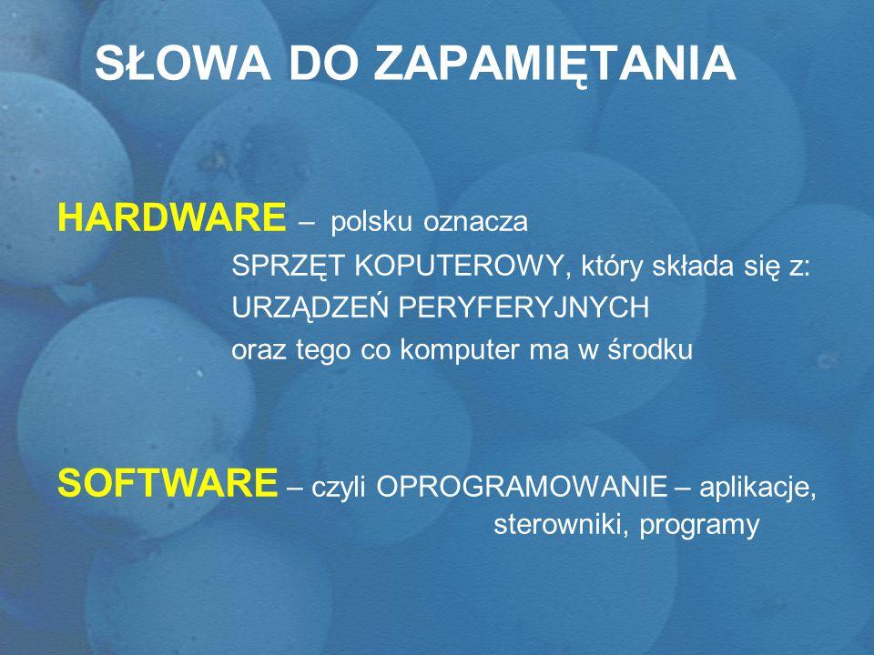 Słowa do zapamiętania HARDWARE – polsku oznacza