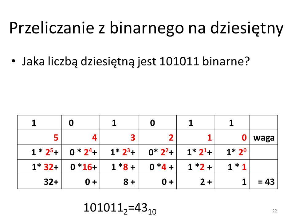 Przeliczanie z binarnego na dziesiętny