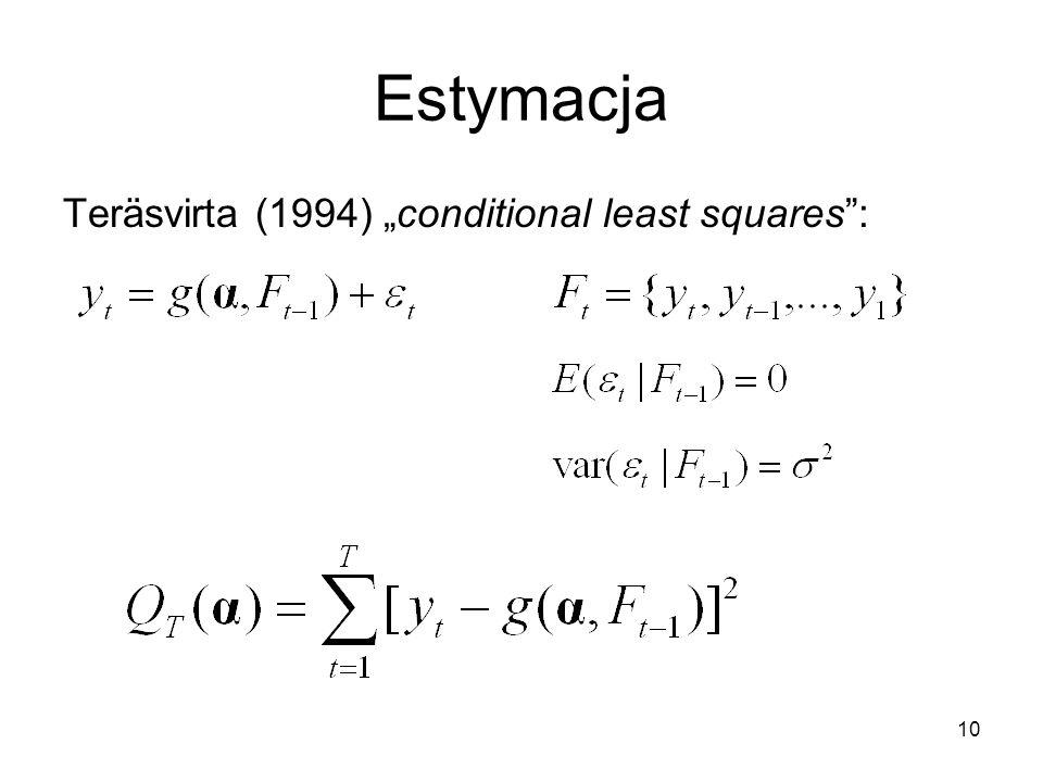 """Estymacja Teräsvirta (1994) """"conditional least squares :"""