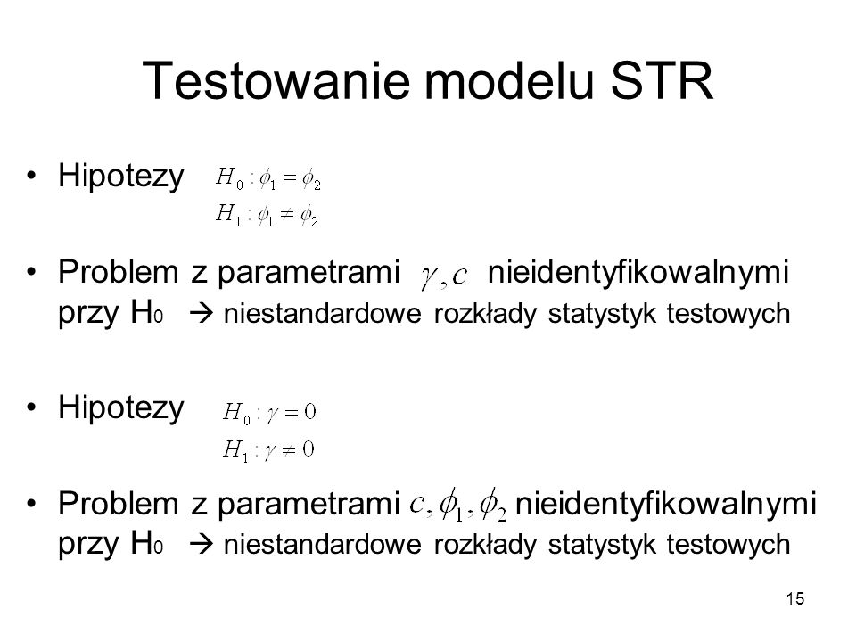 Testowanie modelu STR Hipotezy