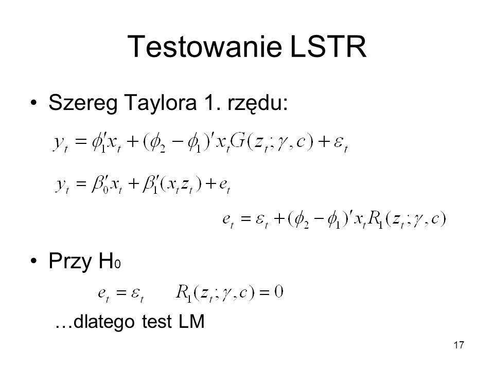 Testowanie LSTR Szereg Taylora 1. rzędu: Przy H0 …dlatego test LM