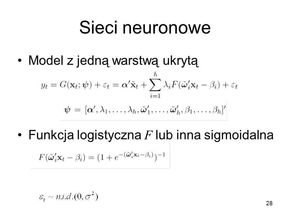 Sieci neuronowe Model z jedną warstwą ukrytą