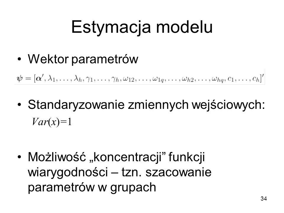 Estymacja modelu Wektor parametrów
