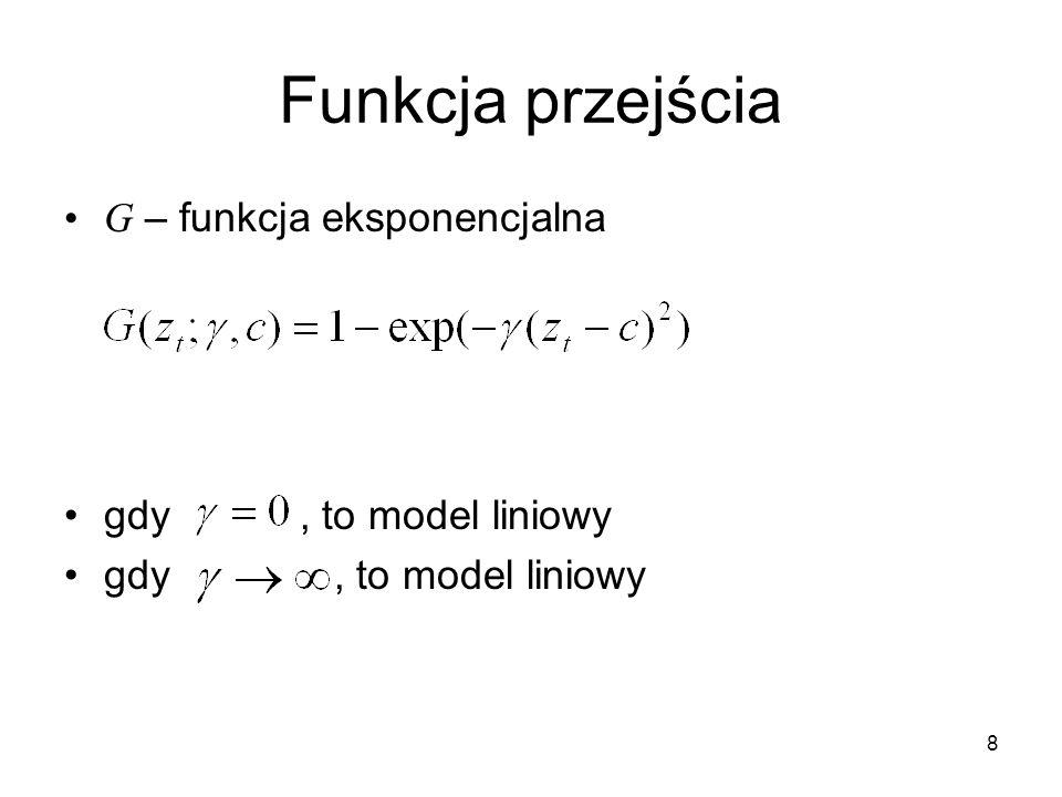 Funkcja przejścia G – funkcja eksponencjalna gdy , to model liniowy