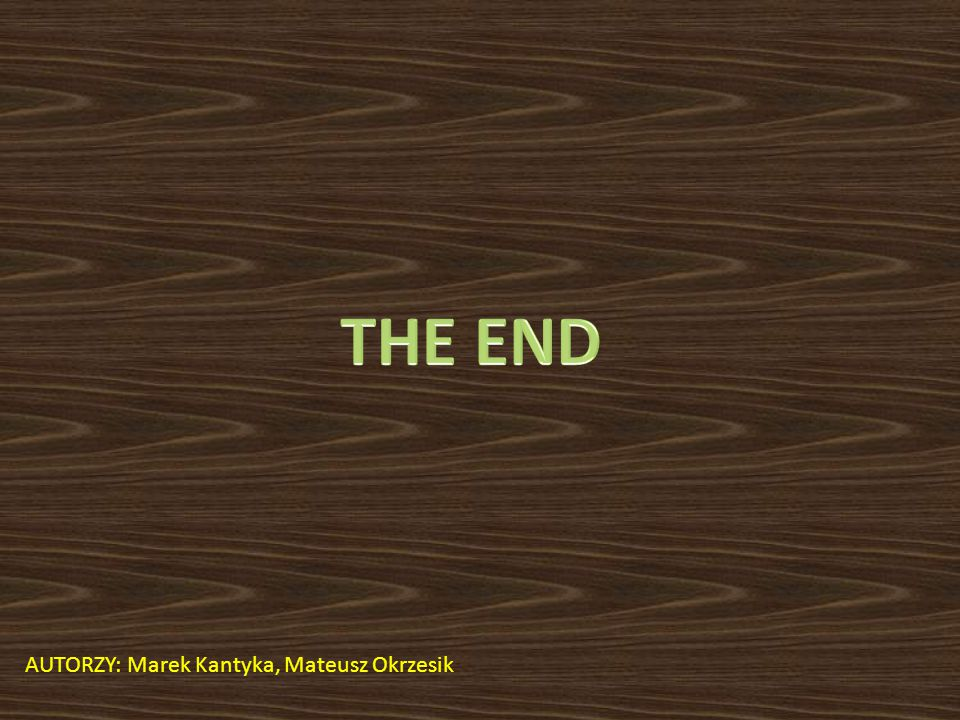 THE END AUTORZY: Marek Kantyka, Mateusz Okrzesik