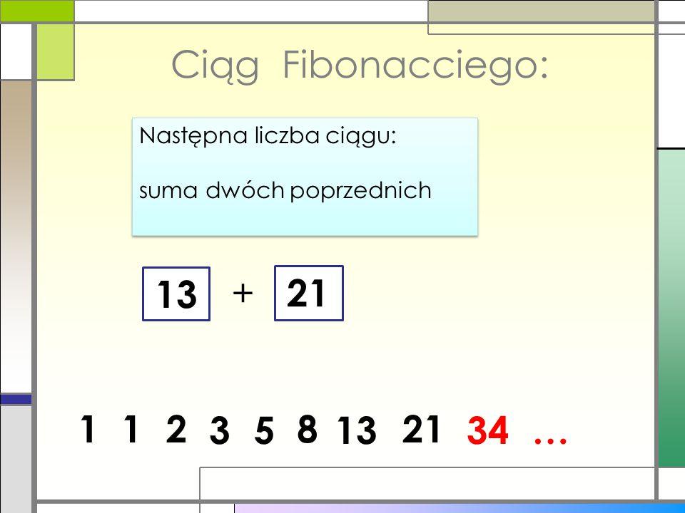 Ciąg Fibonacciego: Następna liczba ciągu: suma dwóch poprzednich 13 + 21 1 1 2 3 5 8 13 21 34 …