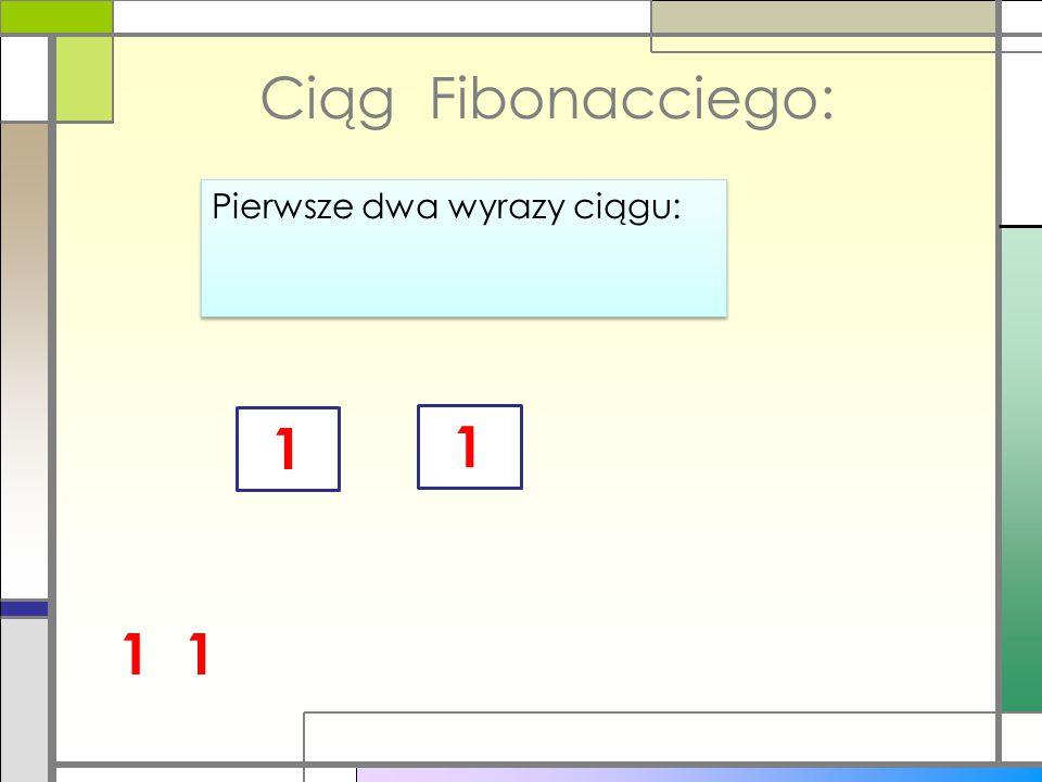 Ciąg Fibonacciego: Pierwsze dwa wyrazy ciągu: 1 1 1 1