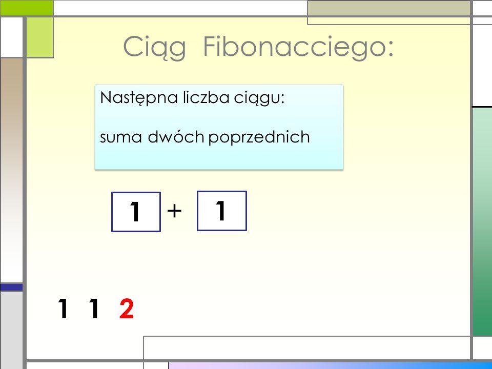 Ciąg Fibonacciego: 1 + 1 1 1 2 Następna liczba ciągu:
