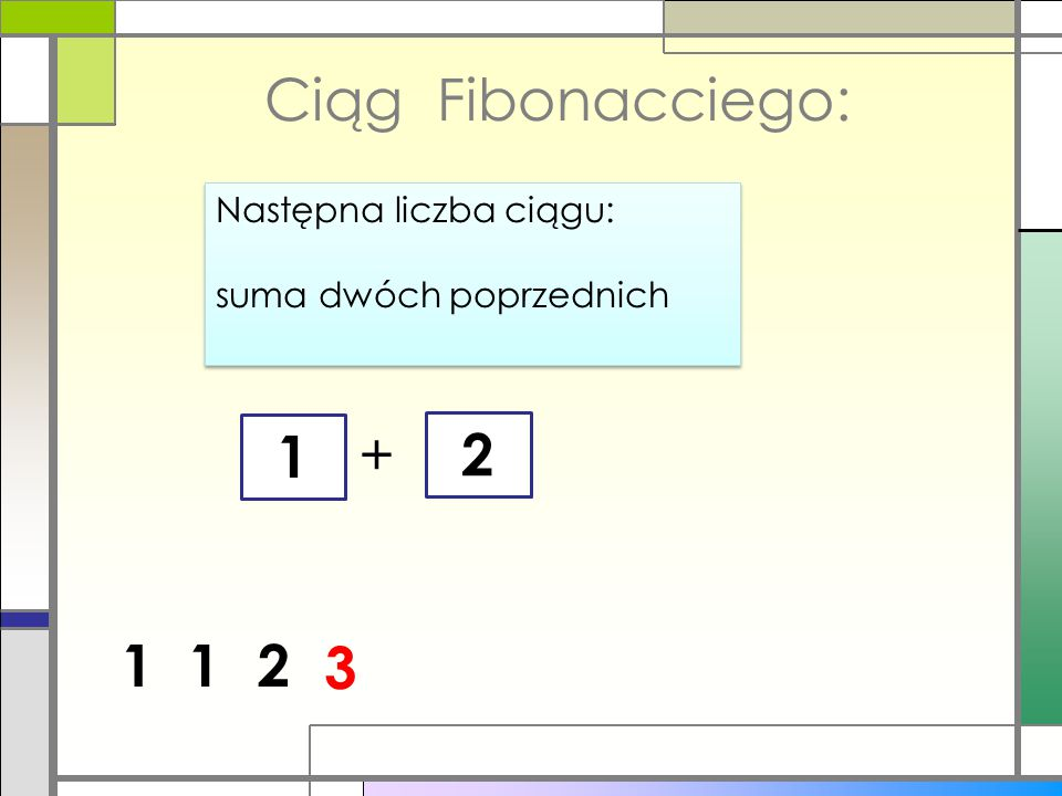 Ciąg Fibonacciego: 1 + 2 1 1 2 3 Następna liczba ciągu: