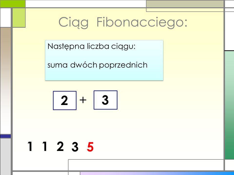Ciąg Fibonacciego: 2 + 3 1 1 2 3 5 Następna liczba ciągu:
