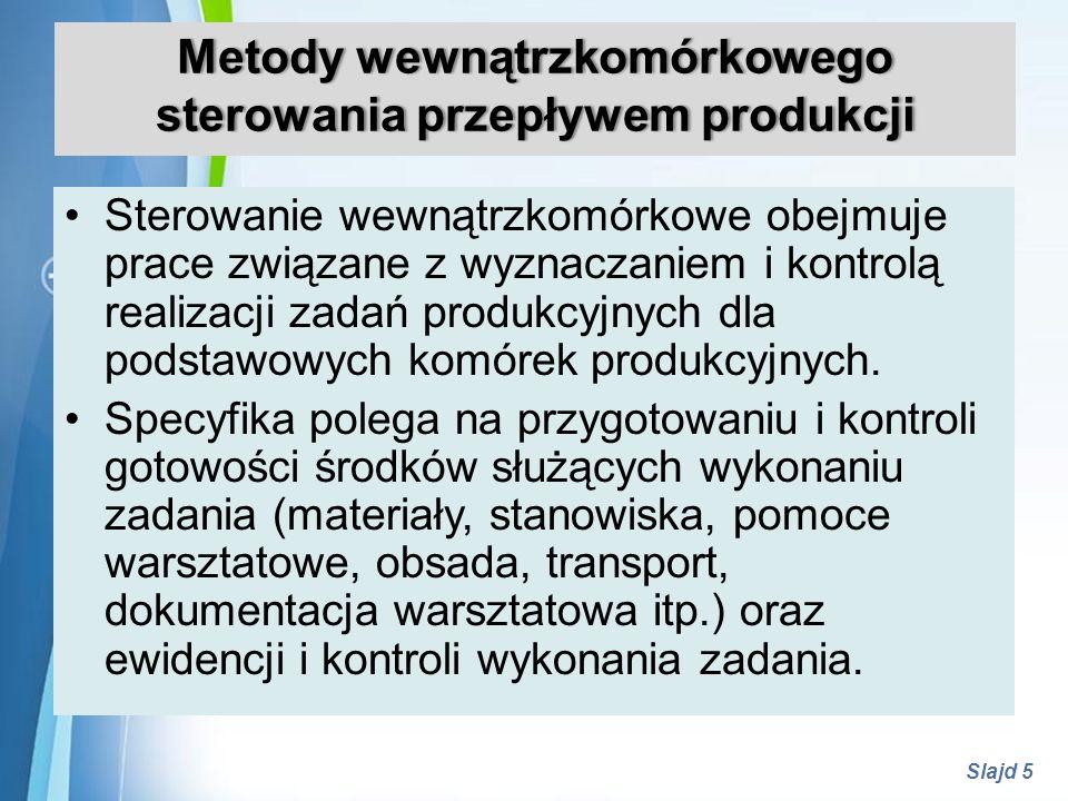 Metody wewnątrzkomórkowego sterowania przepływem produkcji