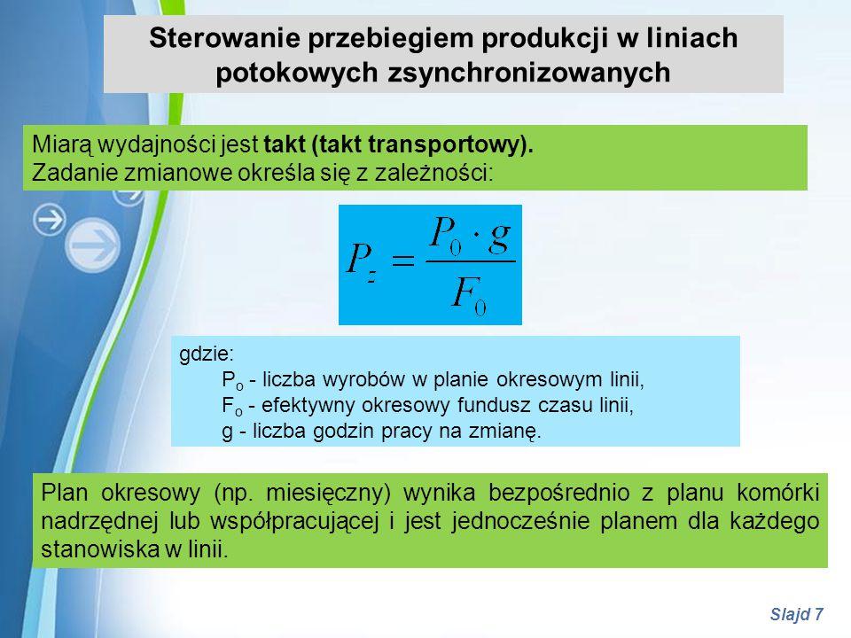 Sterowanie przebiegiem produkcji w liniach potokowych zsynchronizowanych