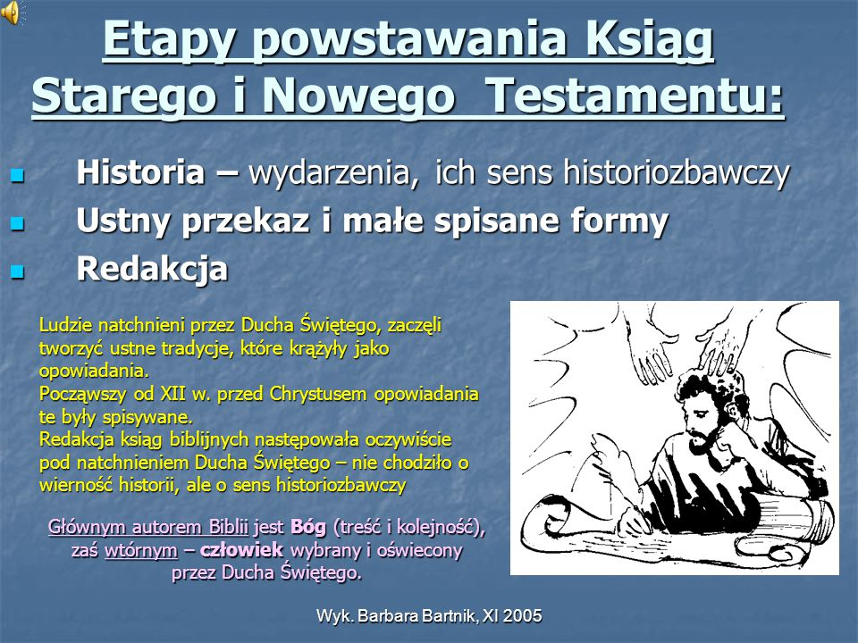 Etapy powstawania Ksiąg Starego i Nowego Testamentu: