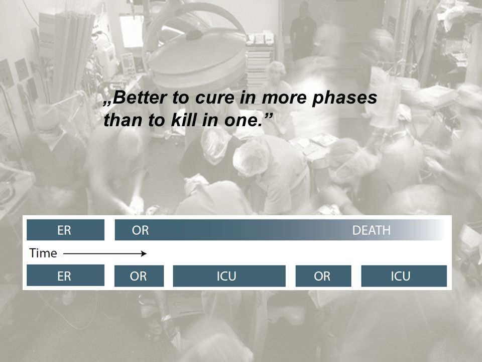 """Better to cure in more phases than to kill in one."