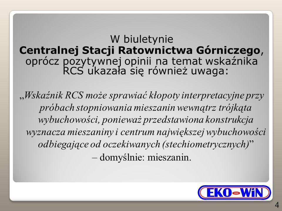 """W biuletynie Centralnej Stacji Ratownictwa Górniczego, oprócz pozytywnej opinii na temat wskaźnika RCS ukazała się również uwaga: """"Wskaźnik RCS może sprawiać kłopoty interpretacyjne przy próbach stopniowania mieszanin wewnątrz trójkąta wybuchowości, ponieważ przedstawiona konstrukcja wyznacza mieszaniny i centrum największej wybuchowości odbiegające od oczekiwanych (stechiometrycznych) – domyślnie: mieszanin."""