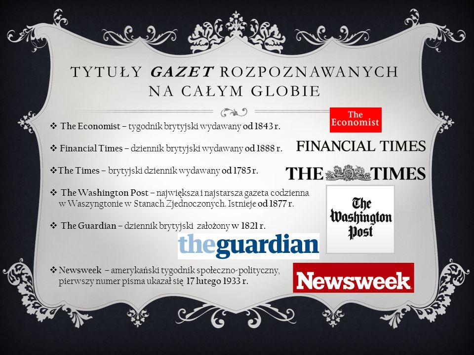 Tytuły gazet rozpoznawanych na całym globie