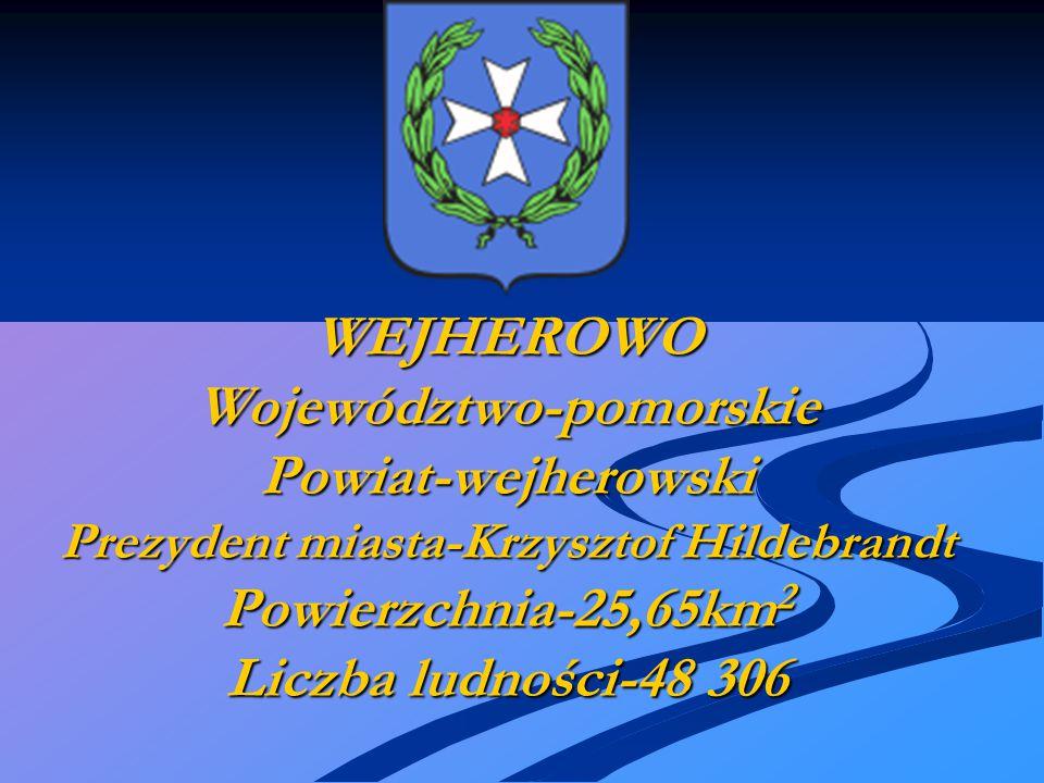 WEJHEROWO Województwo-pomorskie Powiat-wejherowski Prezydent miasta-Krzysztof Hildebrandt Powierzchnia-25,65km2 Liczba ludności-48 306