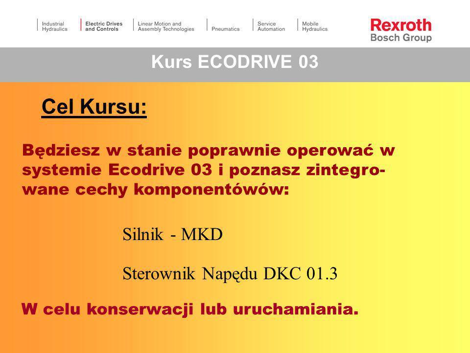 Cel Kursu: Kurs ECODRIVE 03 Silnik - MKD Sterownik Napędu DKC 01.3