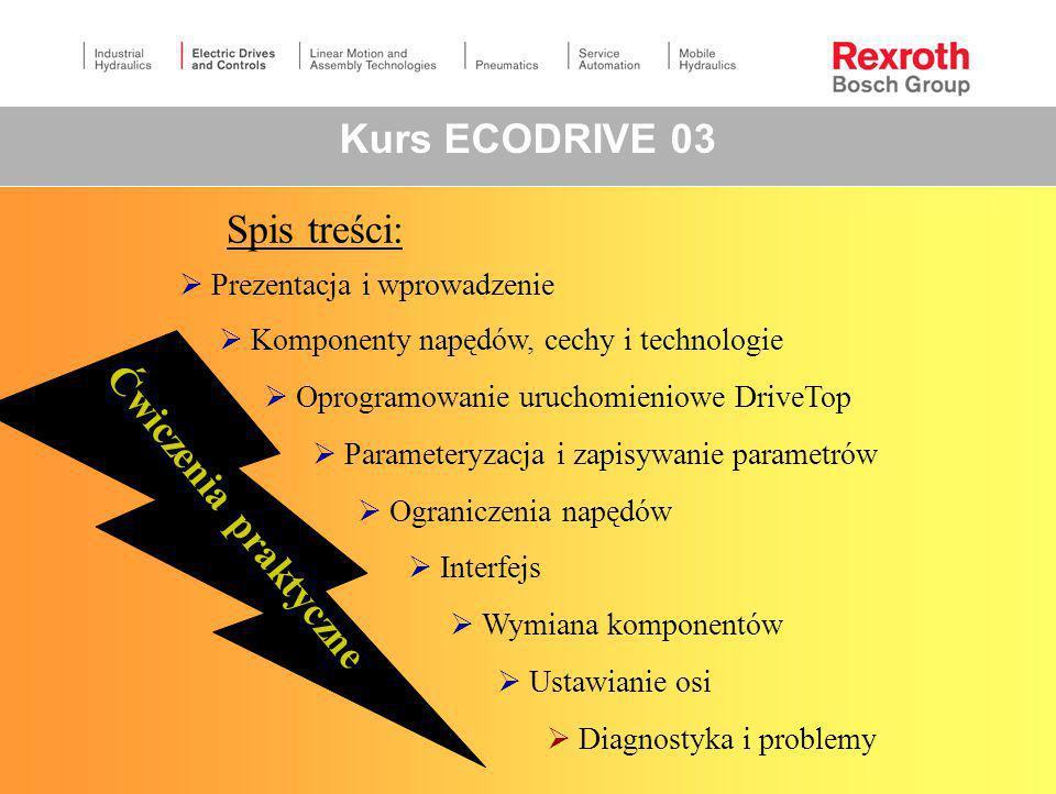 Kurs ECODRIVE 03 Spis treści: Ćwiczenia praktyczne
