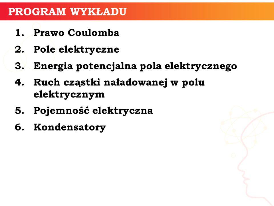 PROGRAM WYKŁADU Prawo Coulomba Pole elektryczne