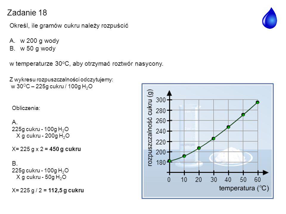 Zadanie 18 Określ, ile gramów cukru należy rozpuścić w 200 g wody