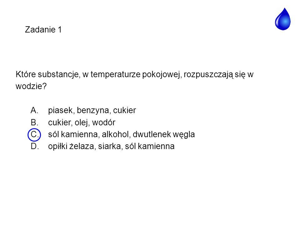 Które substancje, w temperaturze pokojowej, rozpuszczają się w