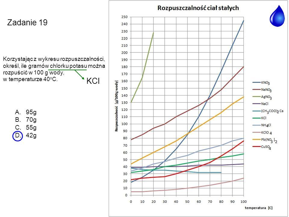 Zadanie 19 KCl 95g 70g 55g 42g Korzystając z wykresu rozpuszczalności,