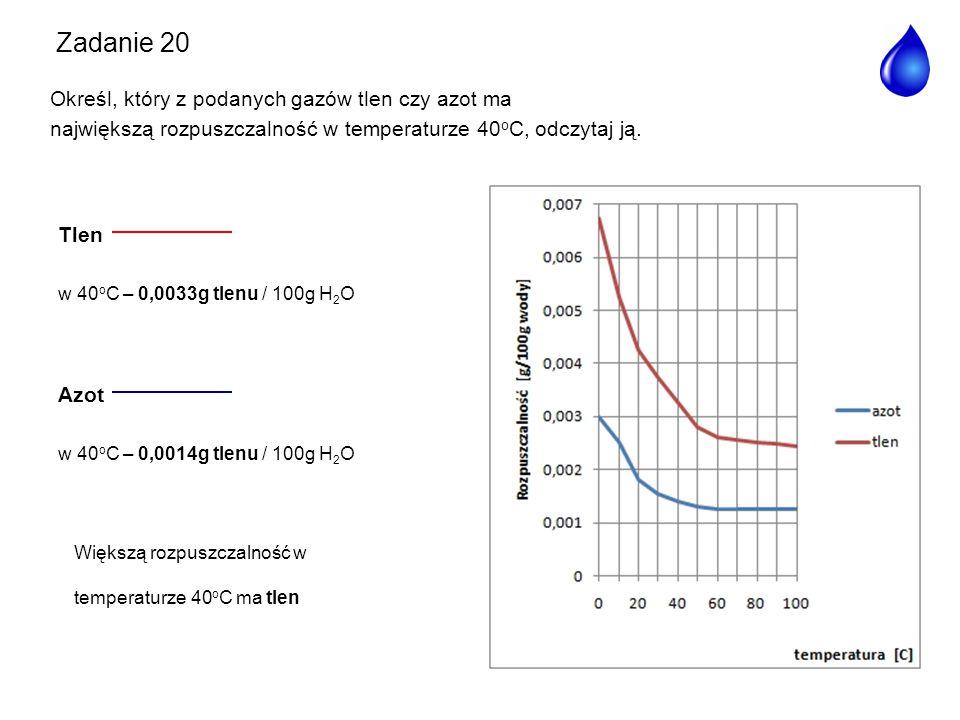 Zadanie 20 Określ, który z podanych gazów tlen czy azot ma