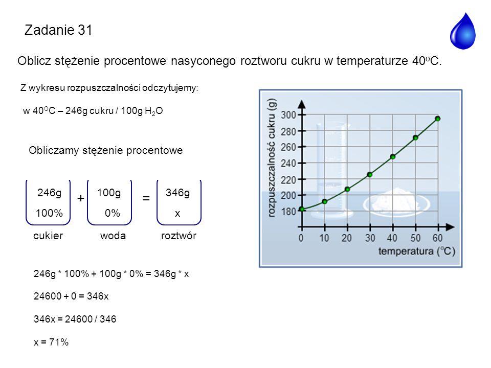 Zadanie 31 Oblicz stężenie procentowe nasyconego roztworu cukru w temperaturze 40oC. Z wykresu rozpuszczalności odczytujemy: