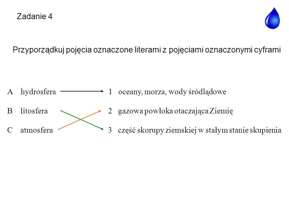 Zadanie 4 Przyporządkuj pojęcia oznaczone literami z pojęciami oznaczonymi cyframi. A hydrosfera.