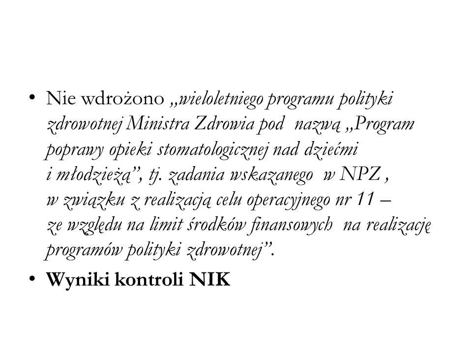 """Nie wdrożono """"wieloletniego programu polityki zdrowotnej Ministra Zdrowia pod nazwą """"Program poprawy opieki stomatologicznej nad dziećmi i młodzieżą , tj. zadania wskazanego w NPZ , w związku z realizacją celu operacyjnego nr 11 – ze względu na limit środków finansowych na realizację programów polityki zdrowotnej ."""