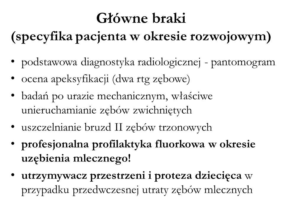 Główne braki (specyfika pacjenta w okresie rozwojowym)
