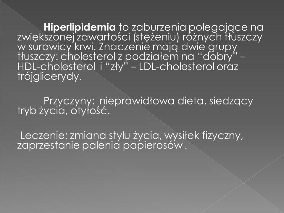 Hiperlipidemia to zaburzenia polegające na zwiększonej zawartości (stężeniu) różnych tłuszczy w surowicy krwi. Znaczenie mają dwie grupy tłuszczy: cholesterol z podziałem na dobry – HDL-cholesterol i zły – LDL-cholesterol oraz trójglicerydy.