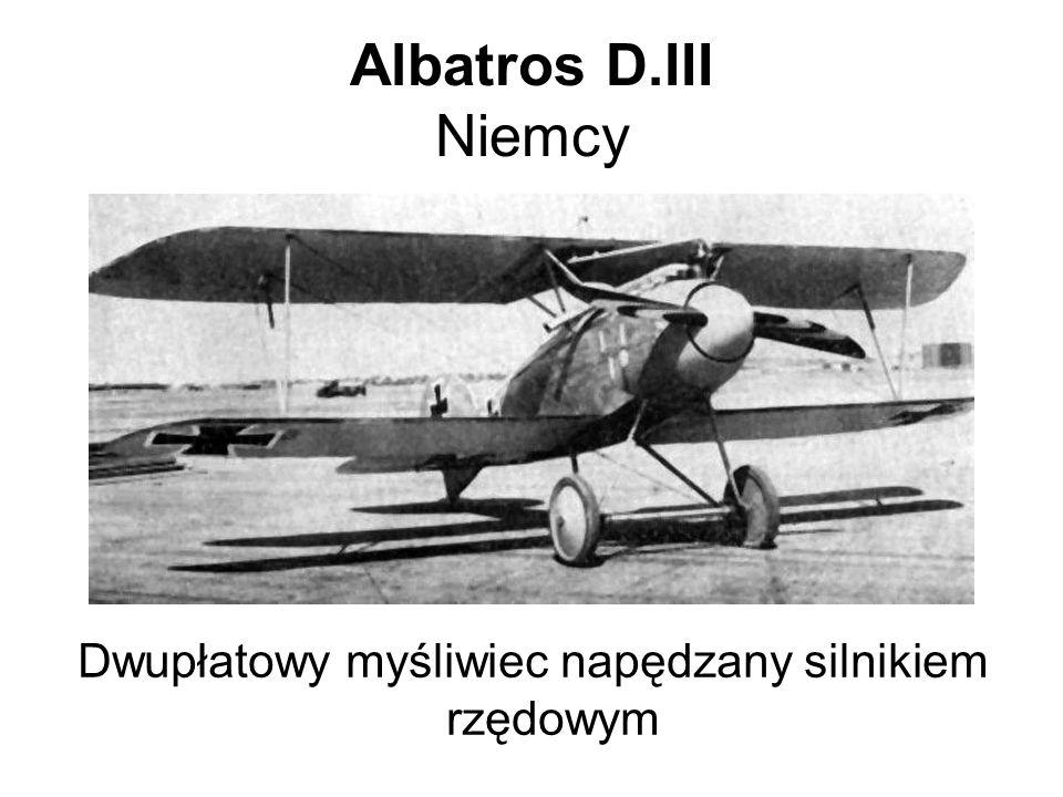 Dwupłatowy myśliwiec napędzany silnikiem rzędowym