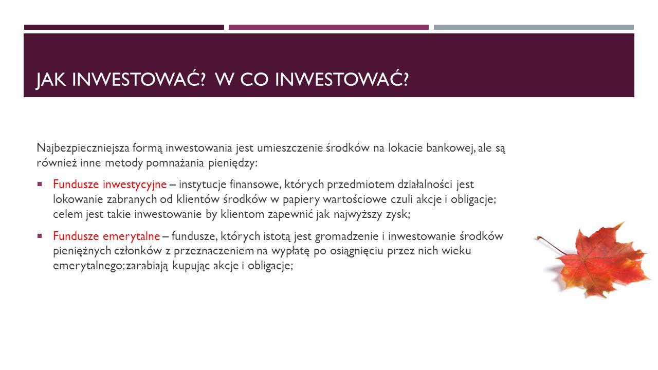 Jak inwestować W co inwestować